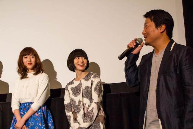 「死の実況中継 劇場版」公開初日舞台挨拶イベントの様子。