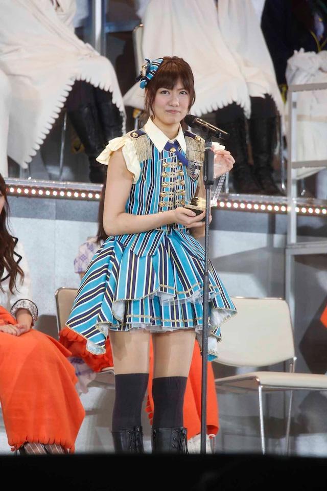 AKB48 37thシングル選抜総選挙第12位の宮澤佐江(SNH48チームSII / SKE48チームS兼任)。 (c)AKS