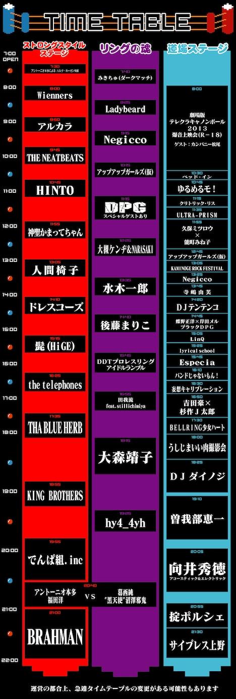 「AOMORI ROCK FESTIVAL '14~夏の魔物~」タイムテーブル