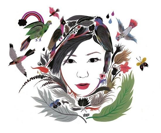 カロリン・ロバートが描いた宇多田ヒカルのイラスト。(c) Carolin Loebbert