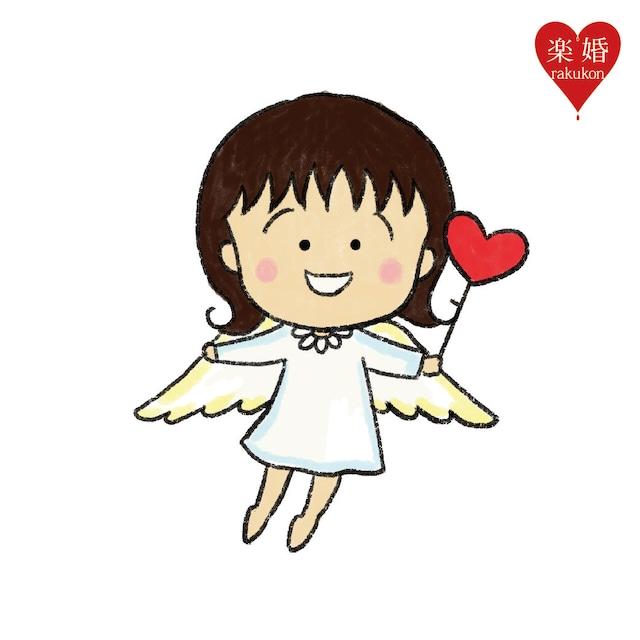 さくらももこ書き下ろしのオリジナルキャラクターの天使・LOVEちゃん。