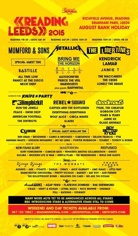 「Reading & Leeds Festivals 2015」ラインナップ