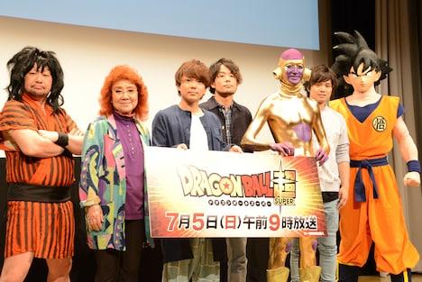 左からケンドーコバヤシ、野沢雅子、グッドモーニングアメリカ、孫悟空。