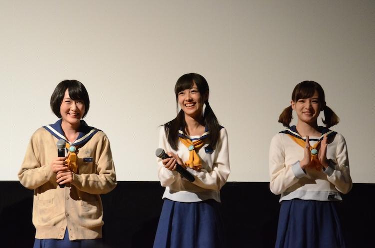 「コープスパーティー」舞台挨拶の様子。左から生駒里奈、前田希美、喜多陽子。