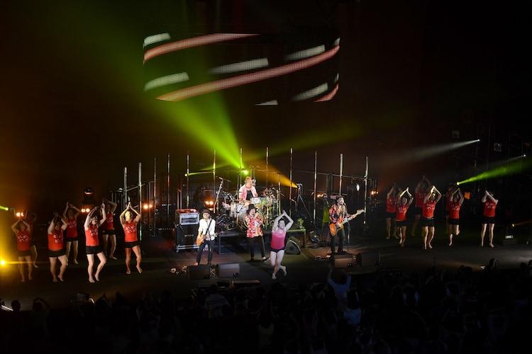 Seasir(浅草ジンタ)と粒マスタード安次嶺をゲストに迎えた「OKINAWA CALLING」の様子。メンバーへのサプライズでスタッフがダンサーに扮してステージに乱入するという一幕も。(撮影:武安弘毅)