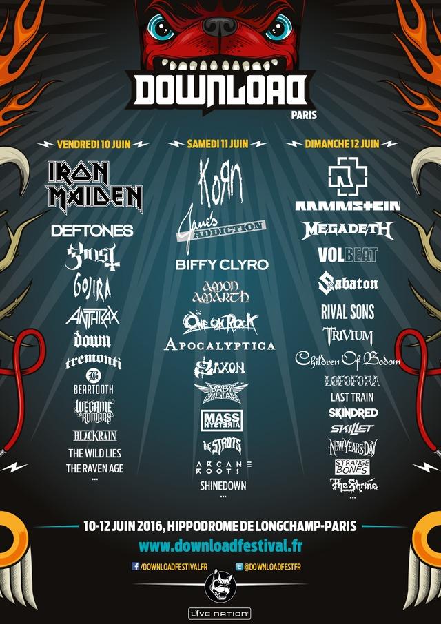 「Download Festival Paris 2016」出演者