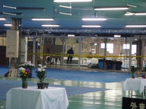 HIDEが検死作業を行った、福島県相馬市の遺体安置所。 (c)TBS