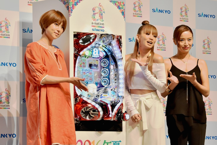 左よりhitomi、倖田來未、鈴木亜美。