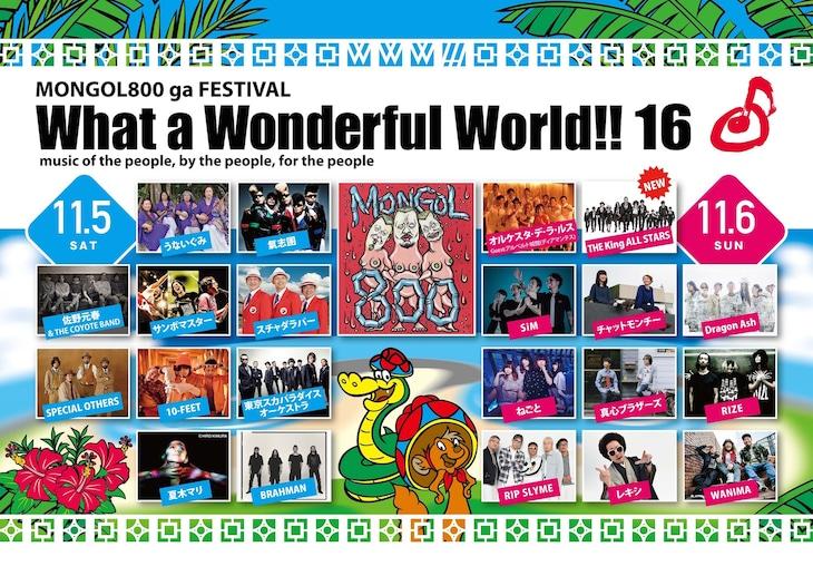 「MONGOL800 ga FESTIVAL What a Wonderful World!! 16」のメインステージ出演者。