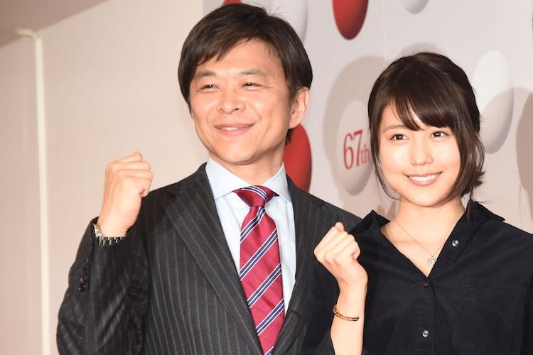 「第67回NHK紅白歌合戦」総合司会を務める武田真一アナウンサーと紅組司会の有村架純。