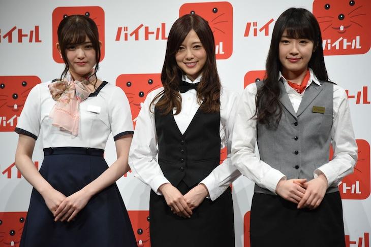 左から松村沙友理、白石麻衣、高山一実。