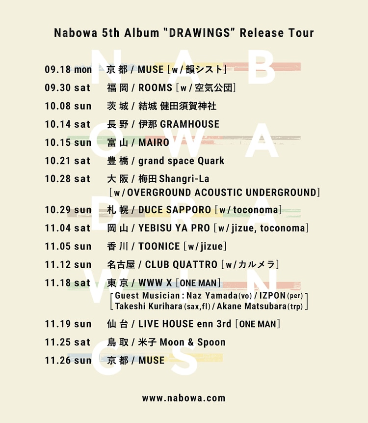 「Nabowa 5th Album『DRAWINGS』Release Tour」告知用画像