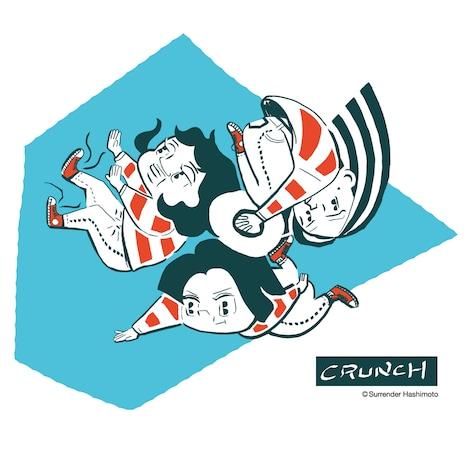 CRUNCH「てんきあめ」特典ステッカーのデザイン。イラストはサレンダー橋本描き下ろし。