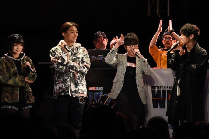 左からMC MIRI、KEN THE 390、藤森慎吾、SKY-HI。