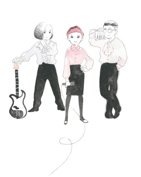 志村貴子が描き下ろした空気公団のアーティストイラスト。