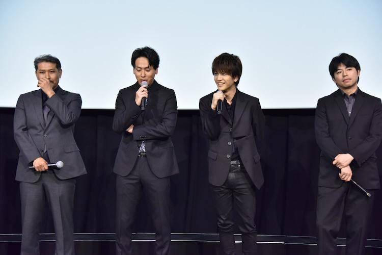 左から岸本司監督、山下健二郎、岩田剛典、石井裕也監督。