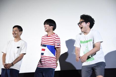 左から清水康彦監督、藤森元生(Vo, G)、木村浩大(Dr)。