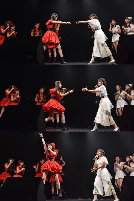 彩木咲良(左 / たこやきレインボー)と中江友梨(右 / 東京女子流)のじゃんけん対決。