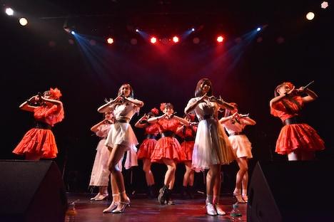 たこやきレインボーと東京女子流によるコラボレーションの様子。