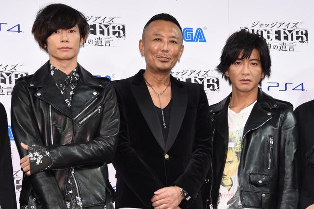 左から川上洋平([ALEXANDROS])、株式会社セガゲームス取締役CPO・名越稔洋、木村拓哉。