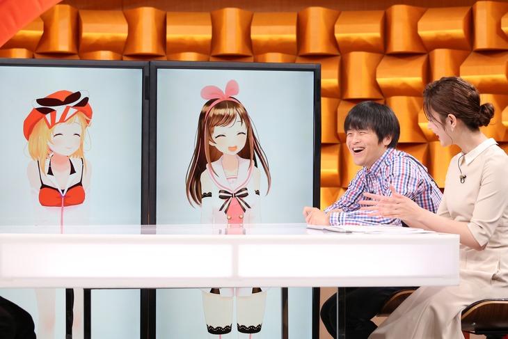 左から、カミナリアイ、Kizuna AI(キズナアイ)、バカリズム、佐藤梨那アナウンサー。