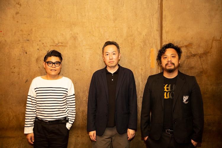 """左から松田""""CHABE""""岳二(CUBISMO GRAFICO、Neil and Iraiza、LEARNERS)、山下直樹、スガナミユウ。"""