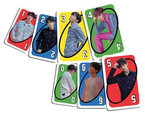 「ウノ BTS」のカード。 (c)Big Hit Entertaiment. All Rights Reserved. (c)2019 Mattel