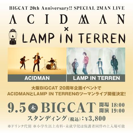"「BIGCAT 20th Anniversary!! ""SPECIAL 2MAN LIVE ACIDMAN×LAMP IN TERREN""」フライヤー"
