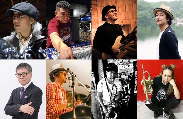 DUBFORCE。左上から時計回りに屋敷豪太(Dr)、Dub Master X(Mix)、Watusi(B)、會田茂一(G)、SAKI(Tp)、コバヤシケン(Sax)、龍山一平(Key)、いとうせいこう(Words)。