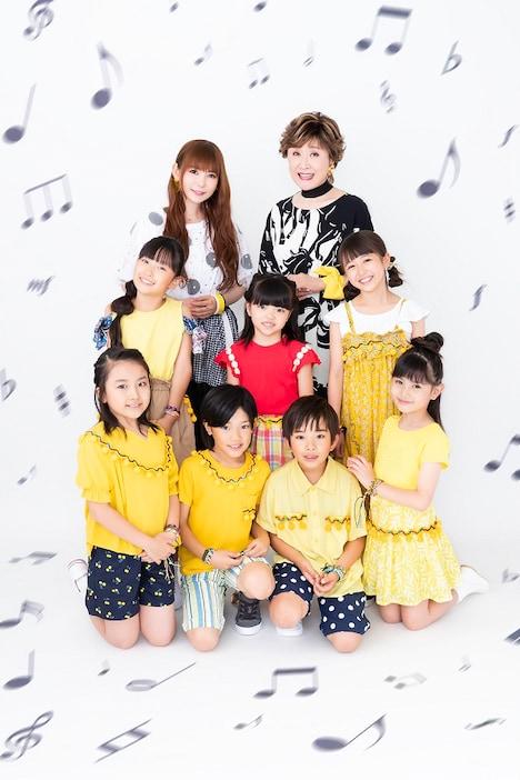小林幸子、中川翔子と子供たち。