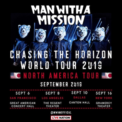 MAN WITH A MISSION「MAN WITH A MISSION presents Chasing the Horizon World Tour 2018/2019 -North American Tour-」告知画像