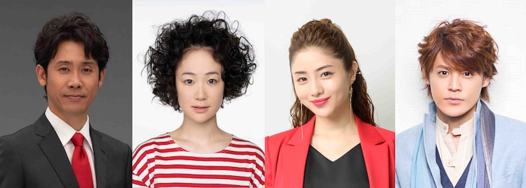 「音楽の日2019」のインタビュー出演者。左より大泉洋、黒木華、石原さとみ、宮野真守。(c)TBS