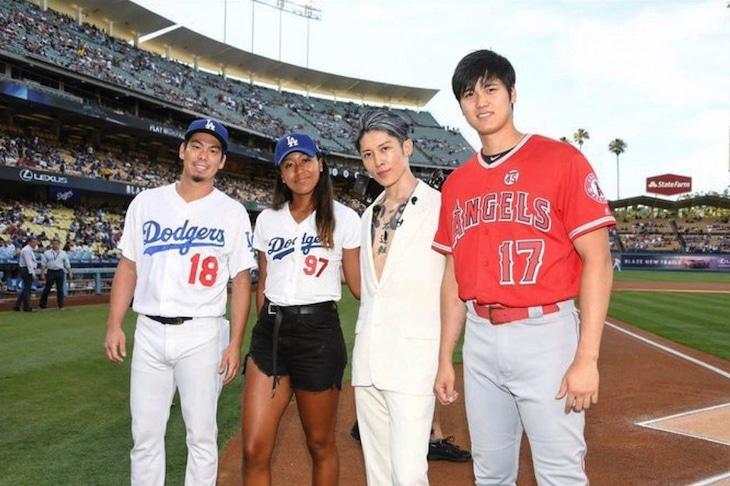 左から前田健太選手、大坂なおみ選手、MIYAVI、大谷翔平選手。(Photo by ZB Images)