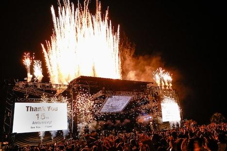 UNISON SQUARE GARDEN「プログラム 15th」終演後の花火。(撮影:にしゆきみ)