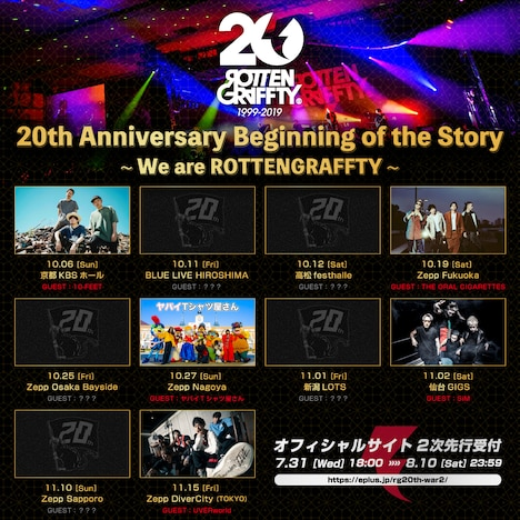 ROTTENGRAFFTY「20th Anniversary Beginning of the Story ~We are ROTTENGRAFFTY~」出演者告知ビジュアル
