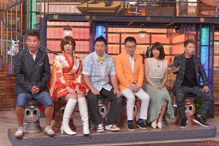 左から勝俣州和、手島優、フォーリンデブはっしー、生島ヒロシ、小林麻耶、井上尚弥。(c)読売テレビ