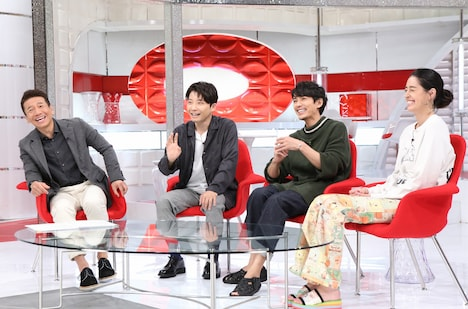 左から上田晋也(くりぃむしちゅー)、星野源、藤木直人、森泉。(c)日本テレビ