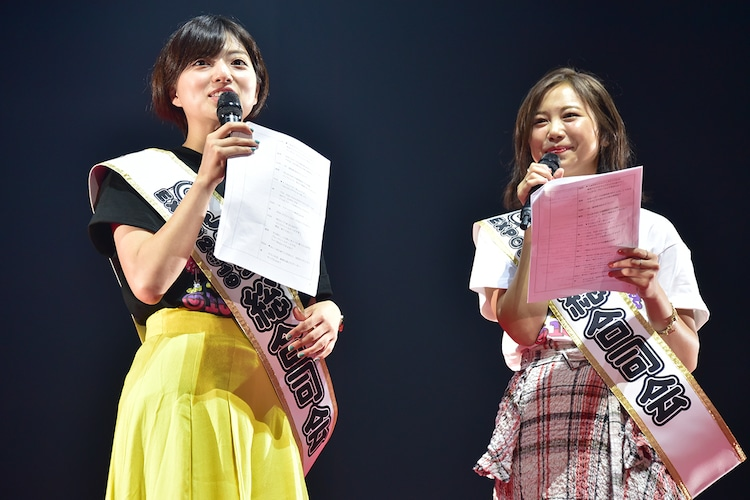 左から「@JAM EXPO 2019」総合司会の高見奈央(ex. ベイビーレイズJAPAN)、森詩織(ex. PASSPO☆)。