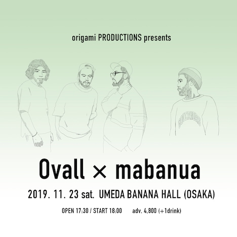 「origami PRODUCTIONS presents Ovall × mabanua」告知ビジュアル