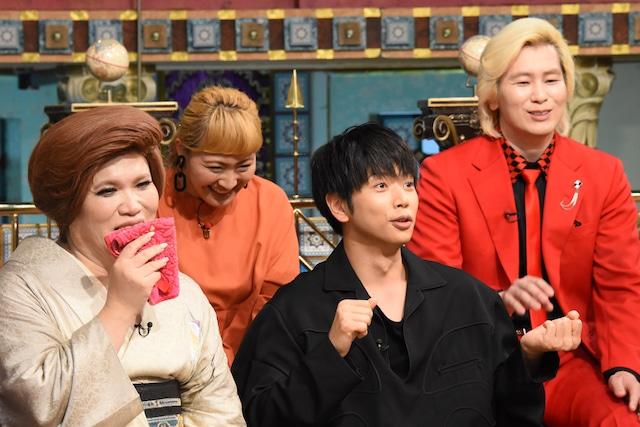 左からIKKO、丸山桂里奈、増田貴久(NEWS)、カズレーザー(メイプル超合金)。(c)日本テレビ