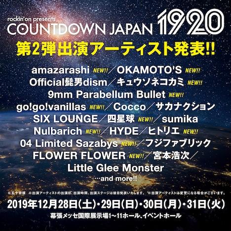 「COUNTDOWN JAPAN 19/20」出演アーティスト第2弾告知ビジュアル