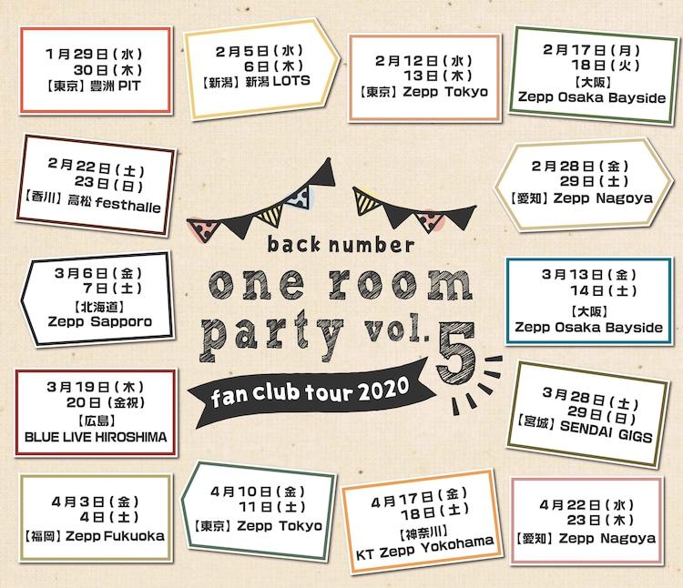 back number「one room party vol.5」告知ビジュアル