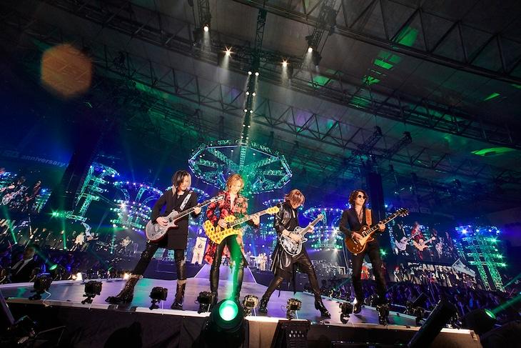 左からHISASHI(GLAY)、YOSHIKI(X JAPAN)、SUGIZO(LUNA SEA)、TAKURO(GLAY)。(c)テレビ朝日ドリームフェスティバル2019