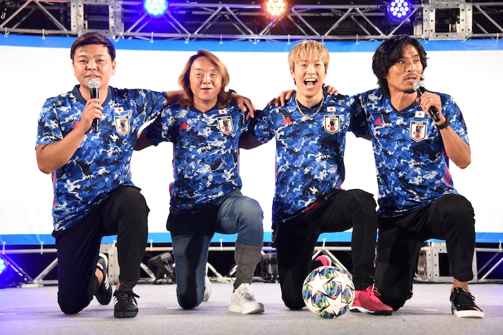 左から城彰二、北澤豪、RIKU、中澤佑二。