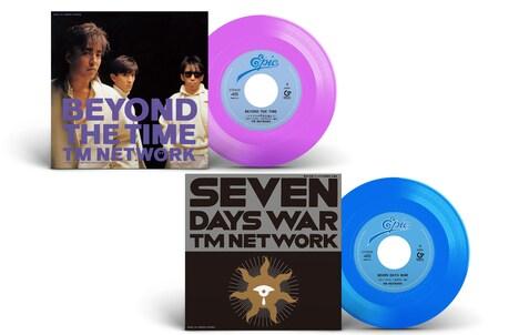 TM NETWORK「BEYOND THE TIME(メビウスの宇宙を越えて)」「SEVEN DAYS WAR」のジャケットと盤面。