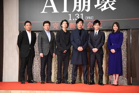 左から入江悠監督、三浦友和、賀来賢人、大沢たかお、岩田剛典、広瀬アリス。