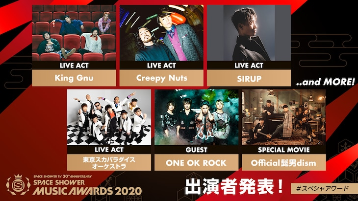 「SPACE SHOWER TV 30TH ANNIVERSARY SPACE SHOWER MUSIC AWARDS 2020」授賞式出演者