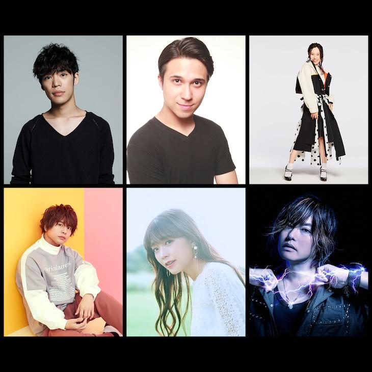 上段左から小野賢章、木村昴、寿美菜子、下段左から仲村宗悟、三森すずこ、森久保祥太郎。