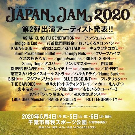 「JAPAN JAM 2020」出演アーティスト第2弾ビジュアル。