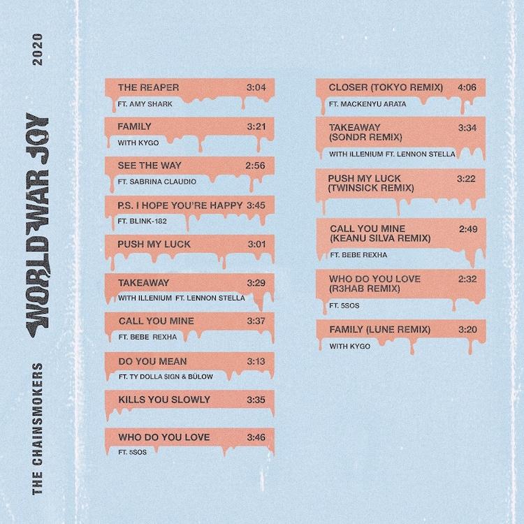 The Chainsmokers「World War Joy」日本盤ジャケット